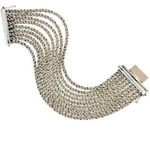 Sterling Silver Multi Strand Rope Chain Bracelet